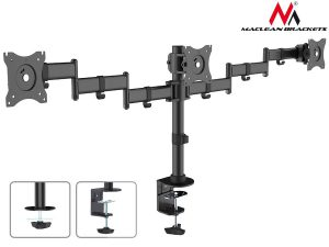 Uchwyt biurkowy na 3 monitory LCD podwójne ramiona Maclean MC-691