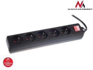 Listwa zasilająca przedłużacz 5 gniazd z wył czarny 5m Maclean Energy MCE55 2300W